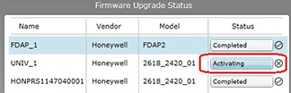 Firmware update status window shows device is activating