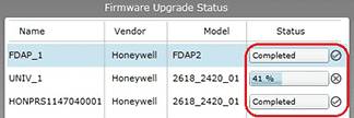 Firmware upgrade status bar shows percentage and status indicators