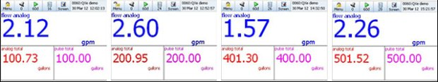 Screen shots compare analog total and pulse totals for flowmeter