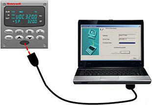 Connecting a UDC controller to a laptop running Process Instrument Explorer software