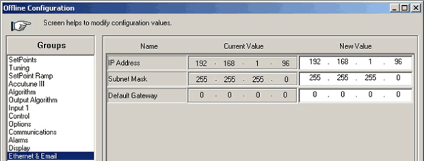 Change a Honeywell UDC controller's IP address