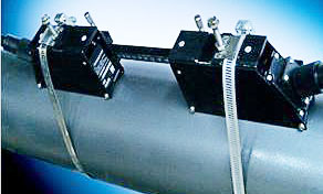 Siemens ultrasonic clamp-on flowmeter sensors mounted to a pipe