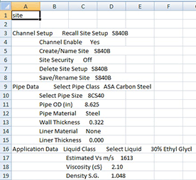 Flowmeter configuration file opened in Excel