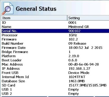 GR Series Internal Serial Number General Status