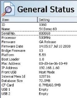 X Series Internal Serial Number General Status